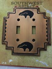 SouthWest Spirit Bronze/Brass Bear Double Light Switch Plate Cover Metal Free Sh