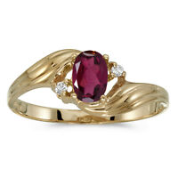 14k Yellow Gold Oval Rhodolite Garnet And Diamond Ring