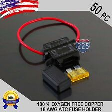50 Pack 18 Gauge ATC In-Line Blade Fuse Holder 100% OFC Copper Wire + 1A - 40A
