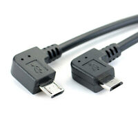 Left Angle 90 Degree Micro USB Male to Male Cable Converter OTG Adapter Cord