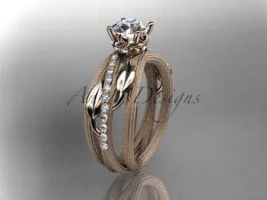 """14kt rose gold diamond engagement ring """"Forever One"""" Moissanite ADLR329"""