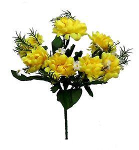 7 Yellow Mini Mums Bush Silk Flowers Bouquets Centerpiece Decor Chrysanthemum