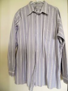 Mens Stafford Executive Gray Striped  Pinpoint Oxford Shirt *Size 17 1/2 35