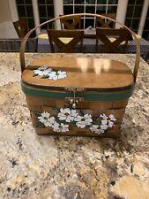 Vintage  handbag 1950s, Caro NaN Wooden Basket Magnolia Flowers