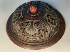 LARGE OLD CHINESE CARVED HARDWOOD PIERCED ANTIQUE WOOD COVER