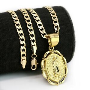 """14k Gold Plated Round Hollow Virgin Mary Pendant 20"""" Cuban Necklace Chain"""