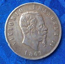 MONNAIE DE 5 lire ECU  EN ARGENT  1869 M VITTORIO EMANUELE II REGNE D ITALIE