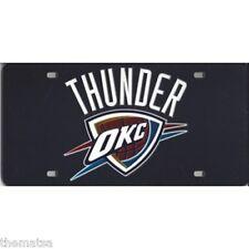 OKLAHOMA CITY THUNDER LOGO NBA BASKETBALL BLACK LASER LICENSE PLATE MADE IN USA