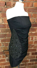 PUNKYFISH Black Stretch Strapless Mini Dress Party Night Out Clubbing Size 14