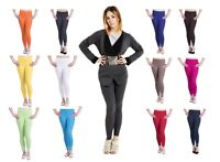 NEW LADIES COTTON LEGGINGS FULL LENGTH ALL COLORS WOMENS SKINNY FIT SIZE 8 - 24
