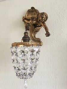 Antique Vintage Gold Cherub Crystal Wall Light Chandelier