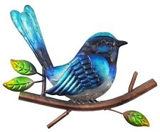 Blue Wren Sitting on Tree Branch Leaves Metal Hanging Wall Art Bird Décor *22 cm