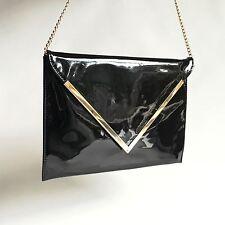 Vintage Envelope 1970s DISCO black patent leather purse Cross Body Chain