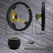 FOR 90-05 MAZDA MIATA 86-91 RX7 FC DEEP DISH GOLD STEERING WHEEL+HUB ADAPTER