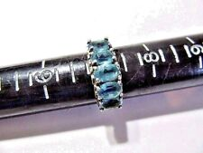 Topaz Vintage Size 7.25 3.7 Gms Channel Set Sterling Silver Ring Blue Simulated