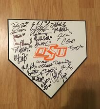 2016 Oklahoma State Baseball Team signed wooden home plate w/coa