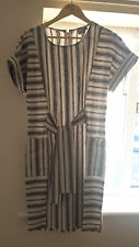 Asos Linen Striped Tie Front Dress in grey size 10 - new with tags