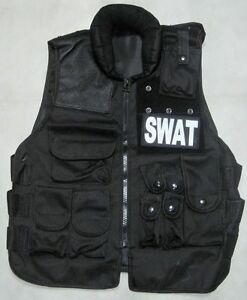 New Airsoft Cosplay S.W.A.T Tactical Protective Armor Black With 2 SWAT Patch