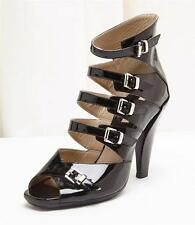 MICHAEL KORS Black Patent Leather Ankle Buckle High Heel Sandal Shoe 9.5-39.5