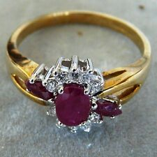 ** NEW ** 9ct Gold Ruby Diamond Cocktail Ring Size Q 8