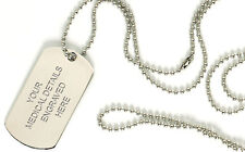 Personalised Engraved Medical ID Dog Tag Army Military Necklace Talisman Gift