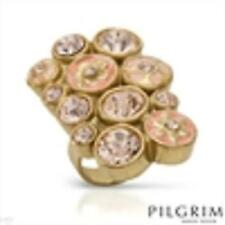 PILGRIM SKANDERBORG Vibrant Ring With Genuine Crystals two tone Enamel sz. 6.5