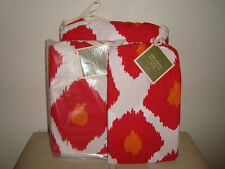 Pottery Barn Ikat Print Duvet KING + Shams RED  NEW SOFT and PRETTY