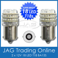 PAIR 12V 18 LED T18 BA15S WHITE GLOBES - HID LOOK - CAR