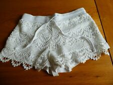 Primark Atmosphere White Lace Jersey Shorts Drawstring Size 6 34 XXS Extra Small
