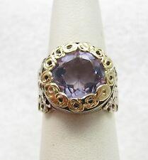14k Yellow Gold & Sterling Silver ZRW Designer Israel Amethyst Ring Sz 7