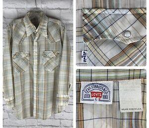 Vintage Levi's western pearl snap plaid long sleeve button shirt men's large USA
