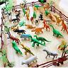 Lot of 68  Simulation Zoo Safari Animal Fences Figures Hard Plastic Assorted