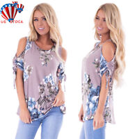 Women Floral Cold Shoulder T-Shirt Summer Short Sleeve Casual Tops Blouse Tee US