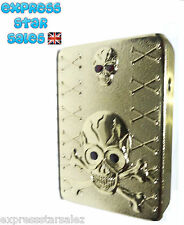 ☠ GOLD TWO SKULL'S ☠ USB Rechargeable Lighter ☠ BRAND NEW ☠ GIFT BOXED ☠