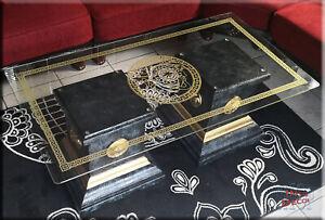 Säulen Couchtisch Medusa Marmor Optik Wohnzimmertisch Tisch Glastisch