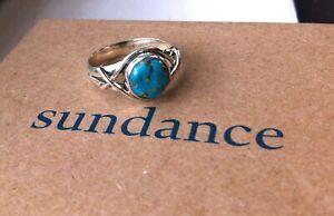 Sundance Catalog Artisan Polished Turquoise Sterling Silver Ring SZ8 NEW