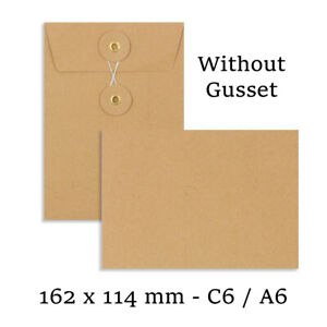 C6 Size Quality String&Washer Manilla W/O Gusset Envelopes Button-Tie Cheap