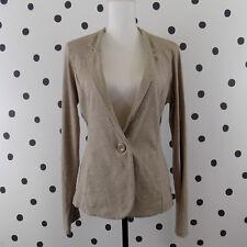 Nordstrom Caslon Women Knit Blazer Medium One Button Beige Tan Cotton
