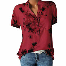 Women Blouse Loose Tops Short Sleeve Button Summer V Neck Casual Floral T Shirt