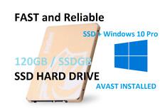 "SSD Hard Drive 120GB 2.5"" With Genuine Windows 10 Pro + AVAST ANTI VIRUS"