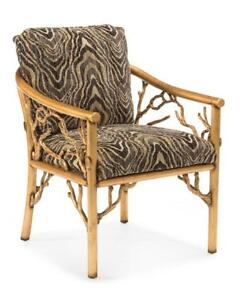 """24"""" W Branches Arm Chair Old Gold Finished Metal Branch Frame Zebra Print"""