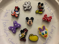 Mickey & Minnie Mouse Lot Of 9 Crocs Shoe,Bracelet,Lace Adapter Charms ,Jibbitz