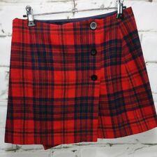 DKNY Tartan Mini Skirt Wrap Size 10 100% Wool Red Lined Pocket