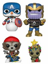 Funko Pop! Marvel: Christmas Captain America Thanos Rocket Groot Set of 4
