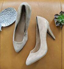 Aldo women's 39 8 8.5 tan cream nude suede leather heel kitten pinup pump