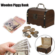 NEW Wooden Piggy Bank Safe Money Box Saving With Lock Wood Carving Handmade