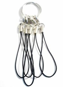 """Flash Drive Cell Phone Cords/Split Ring 3/4"""" Mixed Materials Black New"""
