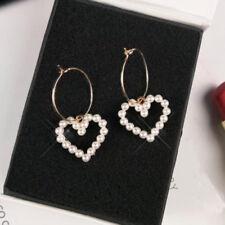 Women Gold Plated Heart Pearl Drop Dangle Hoop Earrings Elegant Jewelry Gift