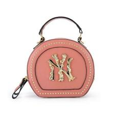 Round NY Purse Bag Stylish Urban Yankee Crossbody Clutch Handle, Soft pink