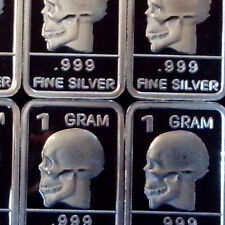 """Skull"" Design. Lot of 10, 1 gram .999 Fine silver bullion bar. Great w/ Pirate"